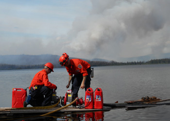 Crew filling up water employment